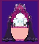 Stock Illustration of beautiful muslim women on mosque background.