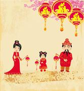 Mid-Autumn Festival for Chinese New Year , Abstract card with family - stock illustration