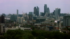 Pan from City of London to London Eye UHD Stock Footage