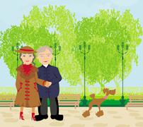 Stock Illustration of Senior couple walking in sunny day with a dog