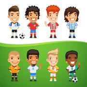 Cartoon International Soccer Players Set - stock illustration