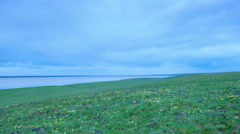 Sunset in the steppe near the salt lake Lopuhovatoe, Rostov region, Russia Stock Footage