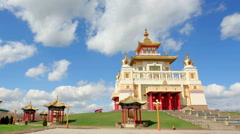 Clouds over the Buddhist temple. Golden Abode of Buddha Shakyamuni in Elista Stock Footage