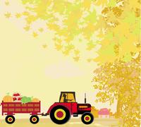 Stock Illustration of man driving a tractor with a trailer full of vegetables in autumn