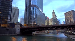 Wabash Avenue Bridge at the Civic district of Chicago Stock Footage