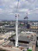Aerial view of London Docklands from an Emirates Sky Train gondola car - stock photo