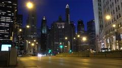 Michigan Avenue Bridge traffic at night. Chicago. Stock Footage