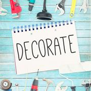 Stock Illustration of Decorate  against tools and notepad on wooden background