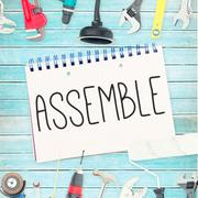 Assemble against tools and notepad on wooden background - stock illustration