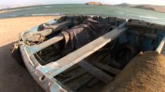 Old fishing boat in desert, Peru Stock Footage