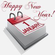 Happy New Year 1 January Stock Illustration