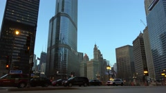 Road traffic on Wabash Avenue Bridge. Chicago. Stock Footage
