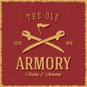 Old Armory Arms and Ammo Abstract Vintage Label, Card, or Logo Template Stock Illustration