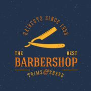 Barbershop Vector Vintage Label or Logo Template with Retro Typography and Stock Illustration