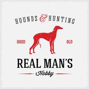 Hounds and Hunting Real Mans Hobbies Abstract Vintage Label or Logo Template - stock illustration