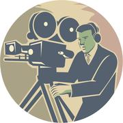Cameraman Moviemaker Vintage Camera Retro - stock illustration