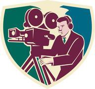 Cameraman Moviemaker Vintage Camera Shield - stock illustration