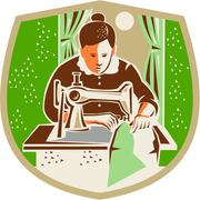 Seamstress Dressmaker Sewing Shield Retro - stock illustration