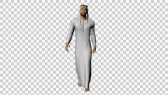 4K UHD Arabic Man Walking White Scarf Stock Footage