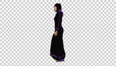 4K UHD Arabic Woman Walking Lateral Black Dress Stock Footage