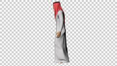 4K UHD Arabic Man Walking Lateral Red Scarf Stock Footage
