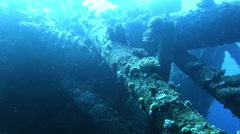Pieces of old ship wreck Stock Footage