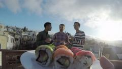 4K Gopro Footage, From The Perspective Of A Sushi Plate, Friends Take Sushi Stock Footage