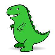 Green cartoon Godzilla monster Stock Illustration