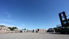 Forklift loading bricks Stock Footage