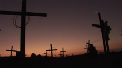 Cruces in the sunset on Graveyard Stock Footage