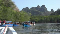 Boats carry tourists at Kilim Karst Geoforest park, Langkawi, Malaysia Stock Footage