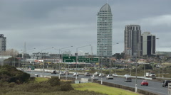 Auckland North Shore Motorway Traffic Stock Footage