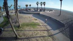 Aerial shot of beach boardwalk Stock Footage