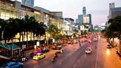 Bangkok RATACHAPRASONG road, shopping mall day to night time-lapse 4k Stock Footage