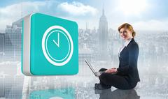Stock Illustration of Composite image of redhead businesswoman using her laptop