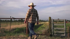 Rancher at the hitching rail Stock Footage
