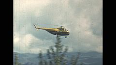 Vintage 16mm film, 1954, Sikorsky HS19 helicopter flyby Stock Footage