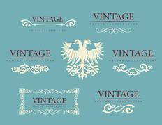 Calligraphic design elements. Baroque vintage set Stock Illustration