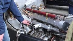 Vintage Bugatti engine revs Stock Footage
