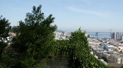Pan from the Russian Hill, Vallejo Street Steps Park Stock Footage