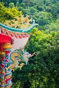 Dragon at chinese temple, Ko Phangan, Thailand - stock photo