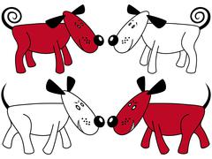 Red and white funny dogs Stock Illustration