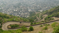 Winding hairpin road in Jaipur, India Stock Footage