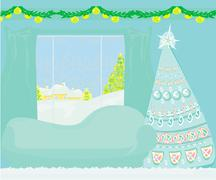 Living room at Christmas time. Stock Illustration
