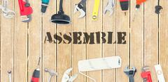 Assemble against diy tools on wooden background - stock illustration