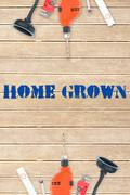 Stock Illustration of Home grown against tools on wooden background