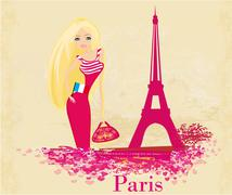 Stock Illustration of beautiful women Shopping in Paris