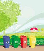 Colorful recycle bins ecology concept with landscape Stock Illustration