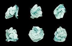 Set of 6 Balls Crumpled Paper. Stock Photos