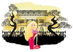 beautiful women Shopping in Paris - stock illustration